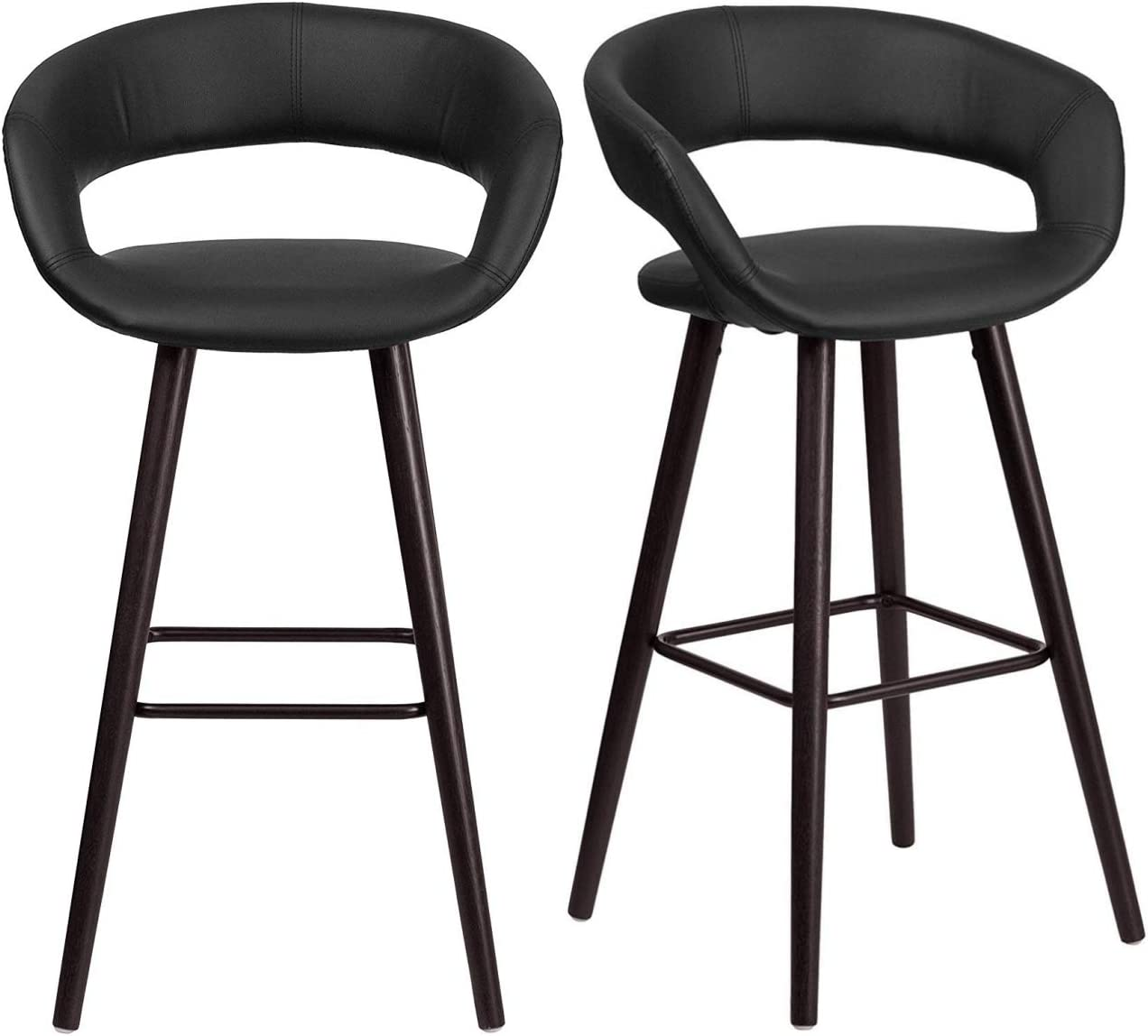 """KLS14 Set of 2 Contemporary Rounded Low Back Design 29.5"""" High Bar Stools Commercial Dining Chairs Home Office Furniture, Black Vinyl/2365"""