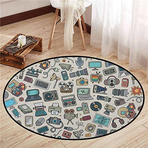 Custom Rugs,Doodle,Complation of Various Office Gadgets Recorder Tv Laptop Monitor Tablet Switch Mouse,Door Floor Mat for Bedroom,3'3
