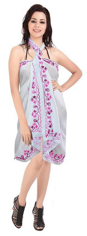 La Leela Rayon Stickerei weiß 5 in einem Bademode / Badeanzug vertuschen / Tunika / sundress / Bikini Schlitz Rock / Damen Pareo / plus Größe Badeanzug Sarong langes Kleid 182x108 cm wickeln