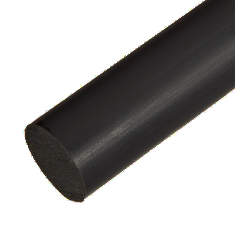 Acetal Copolymer Plastic Round Rod 6 Diameter 24 Length Black Color