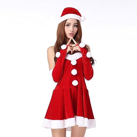 CHIC-CHIC Anniversaire Mère Déguisement Femme Christmas Costume Robe Adulte  Combinaison Bonnet de Noël Gants 7e6995791f9