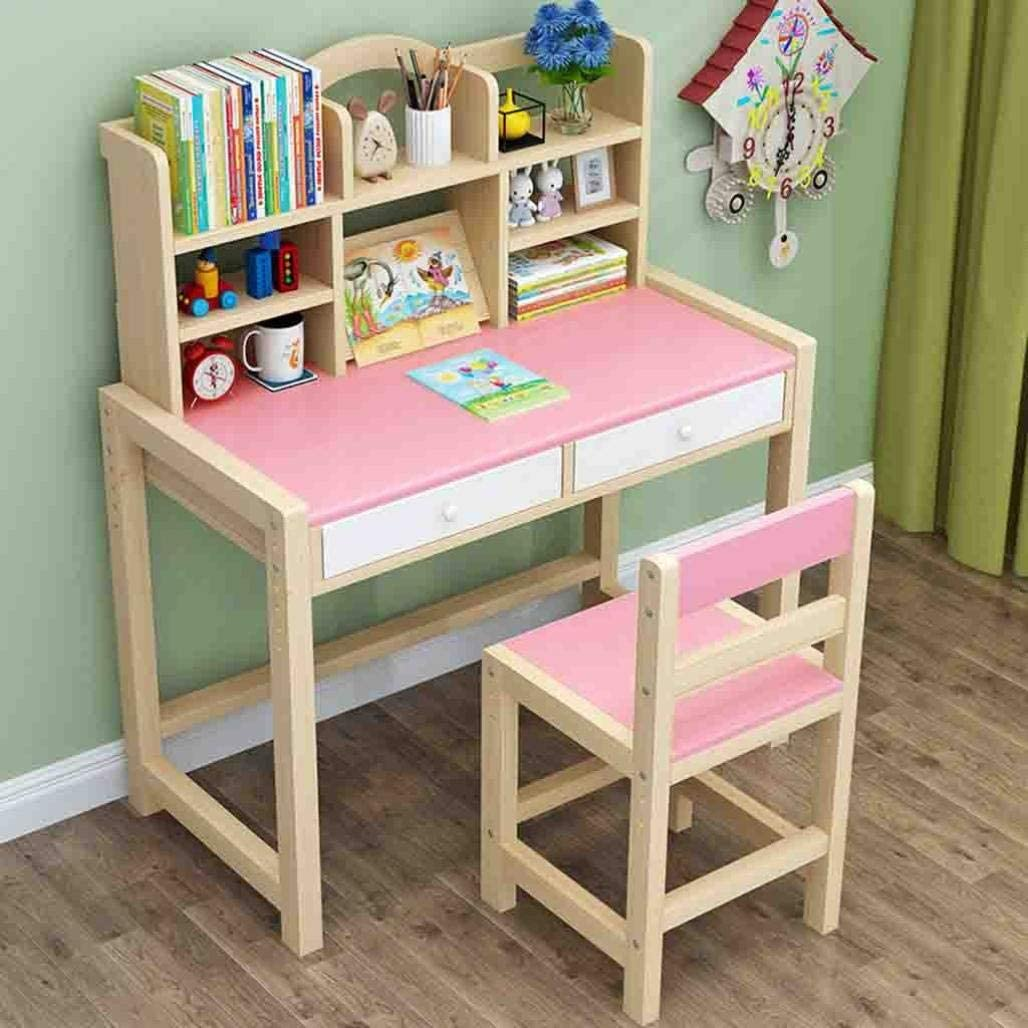 Vifucz Kids Table and Chair Set - Height Adjustable Kids Table and Chair Set 5-8 Year Old Desk Chair for Teens Girls Boys Desk for Kids 8-12, Kids Wooden Table and Chair Set with Hutch (Pink)