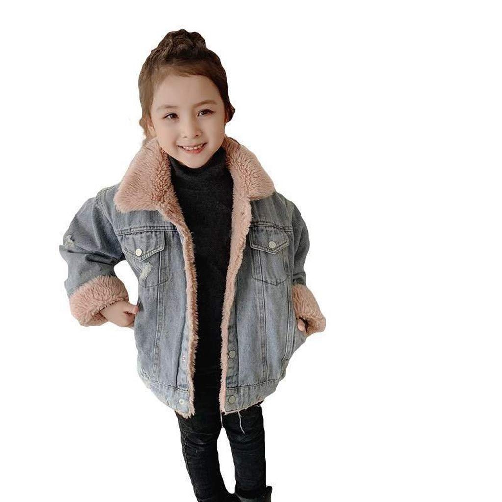 Lataw Toddler Coat Kids Clothes Baby Girls Long Sleeve Tops Thick Warm Jacket Denim Winter Blouse Fashion Set Outerwear by Lataw