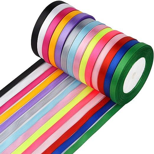 FEPITO 10 mm cinta de raso 350 yardas tela cinta satinado rollo 14 colores: Amazon.es: Hogar