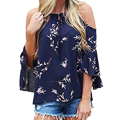 973191b4c81a71 BCDshop 2018 New! Women Fashion Floral Print Cold Off Shoulder Shirt Short  Sleeve Tops Blouse