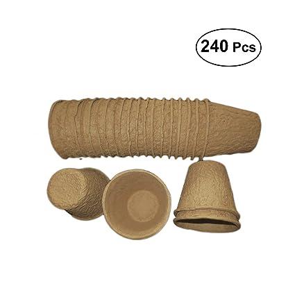 BESTOMZ 240pcs Semillas Macetas de Inicio Bandejas de plántulas Macetas Biodegradables y Orgánicas Semillas de Plantas