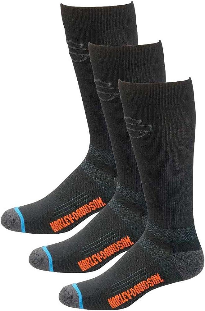 Harley-Davidson Men's Comfort Cruiser Wicking Riding Socks D99203170, 3 Pairs