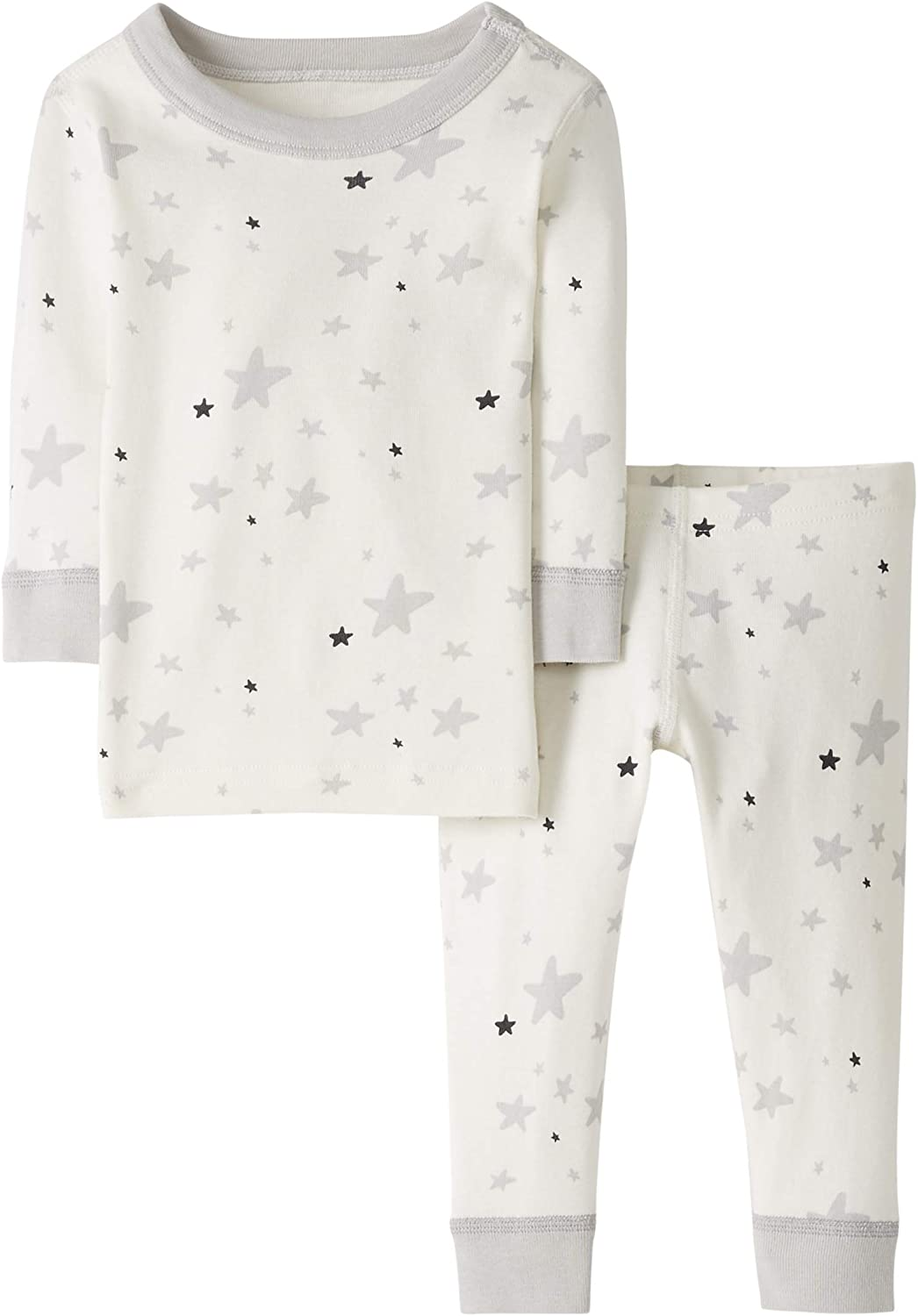 18-24 months Gray Moon and Back by Hanna Andersson Baby//Toddler 2-Piece Organic Cotton Long Sleeve Star Print Pajama Set