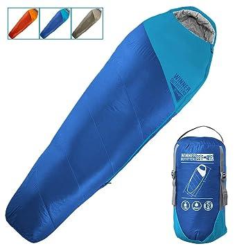 Saco de dormir para mamá con bolsa de compresión, portátil y ligero, para acampadas de 3 a 4 años ...