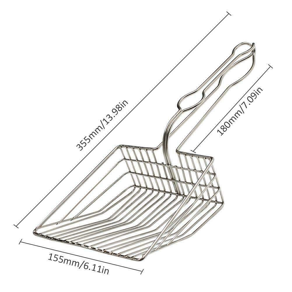 Free Storage Holder NWHEBET Cat Litter Scooper Grip Original Durable Solid Aluminum Extra Large Non-Stick Deep Scoop Shovel for Sifting Kitty Cats Litter,Long Comfy Grip Handle for Cleaning
