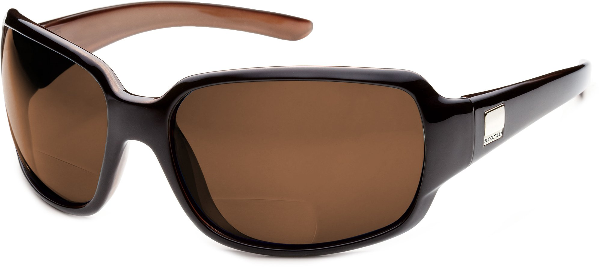 Suncloud Cookie Polarized Bi-Focal Reading Sunglasses in Black Backpaint with Brown Lens +1.75 by Suncloud