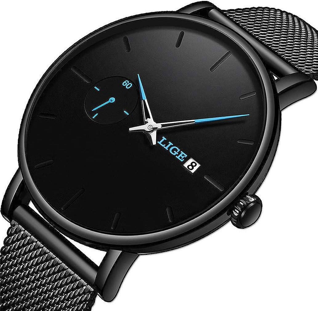 Men s Watches Fashion Simple Minimalism Waterproof Analog Quartz Watch Luxury Brand LIGE Black Stainless Steel Business Dress Wristwatch