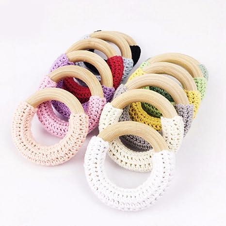 INCHANT 12pzas ganchillo anillo de madera bricolaje ...