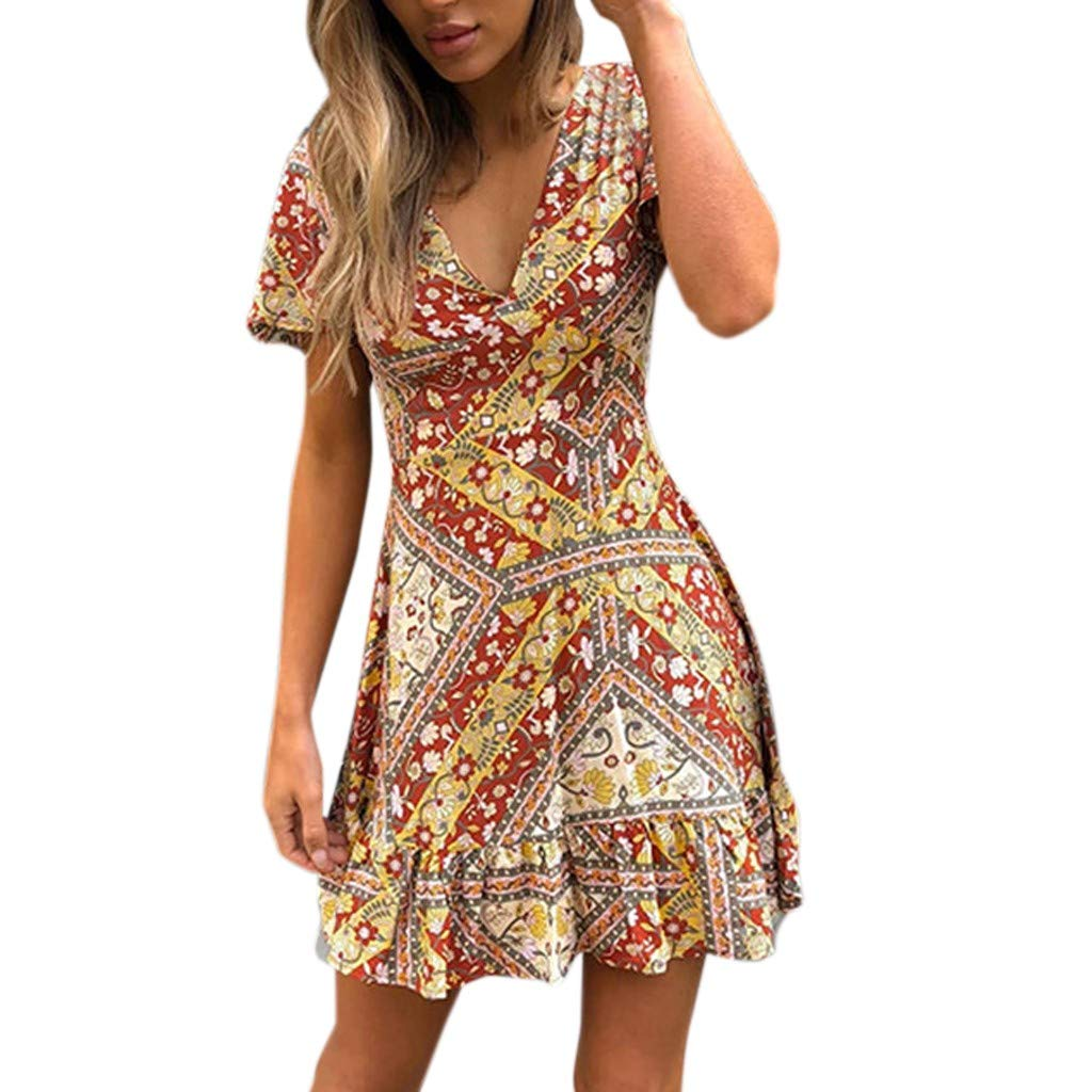FTXJ Sexy Womens Fashion Ladies V-Neck Print Multicolor Short Sleeve Mini Beach Dress