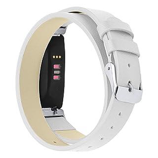 Cinturino per Fitbit Inspire/Inspire HR, cinturino in pelle a doppio cerchio di ricambio con cinturino in acciaio inox e fibbia in metallo per Fitbit Inspire & Inspire HR 18x5x1cm Orange