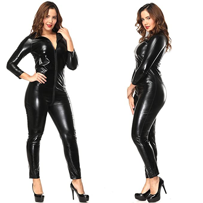 latex women Crotchless bodysuits for