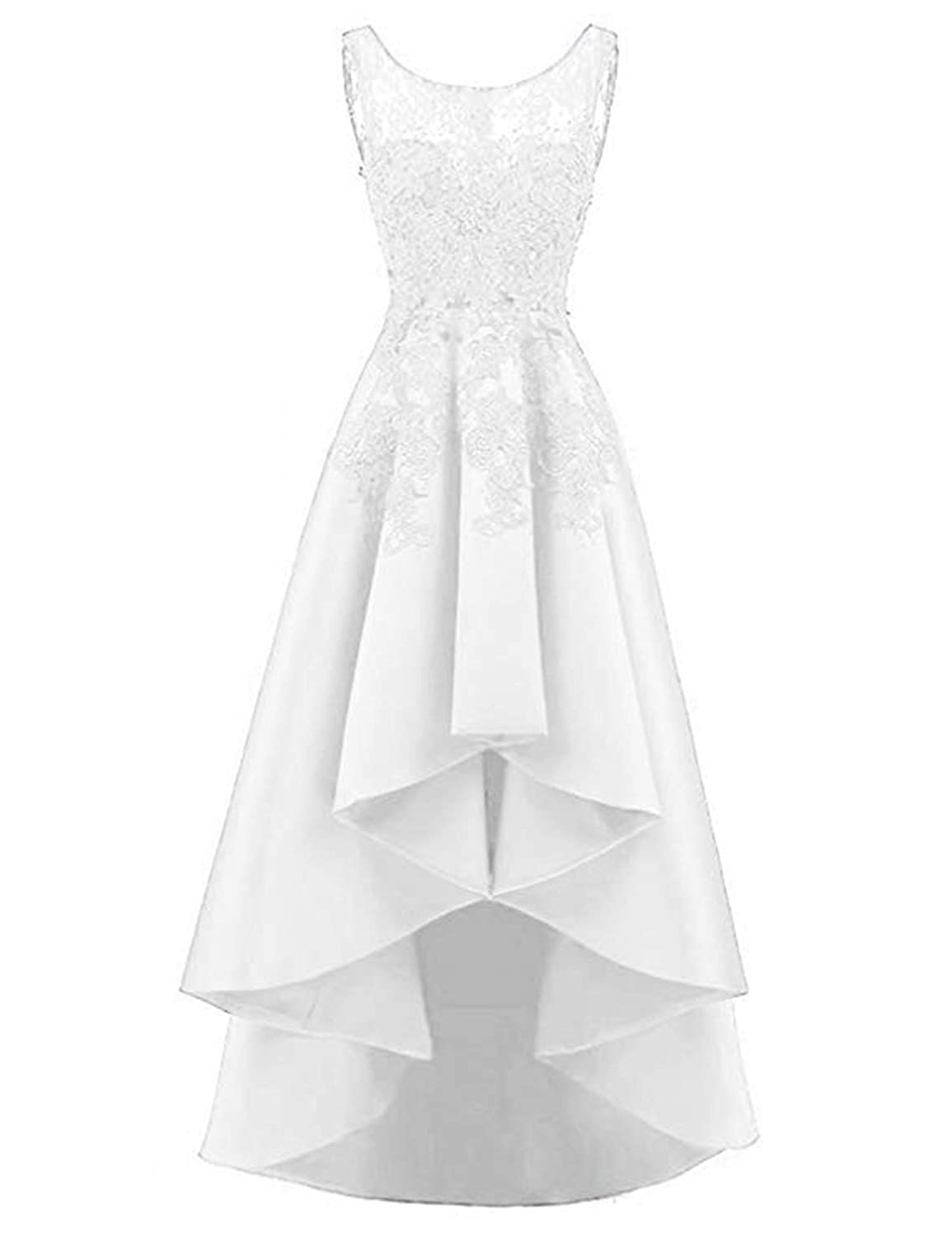 White QiJunGe Women's High Low Prom Dress Lace Satin A Line Evening Formal Gowns