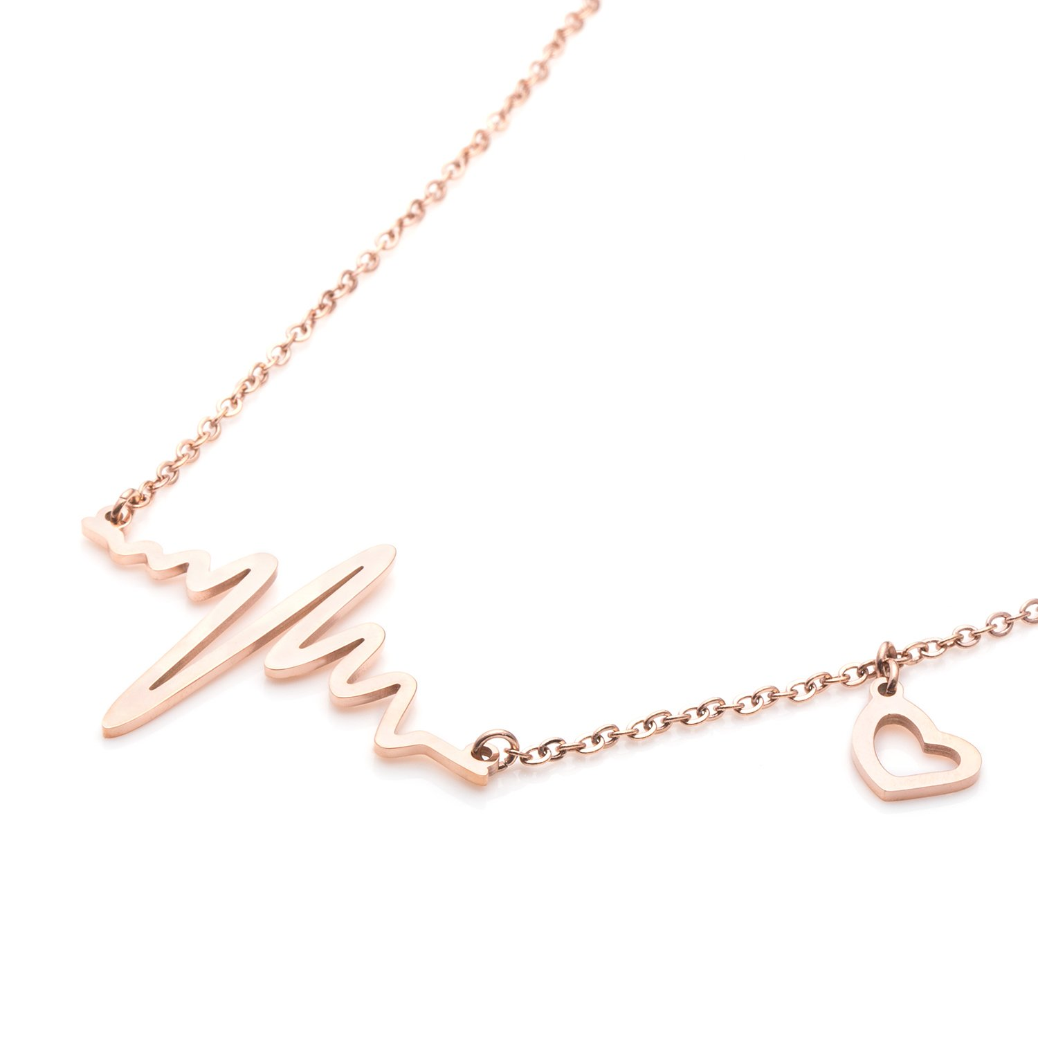 Yiyang Heartbeat Necklace Electrocardiogram Religion Charm Pendant Plated Inspirational Jewelry Birthday Gift for Women Girls