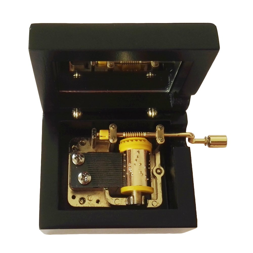 18 Note Hand Crank Wooden Musical Box With Gold-plating Movement in,Black Music Gift Box,You Are My Sunshine Music Box
