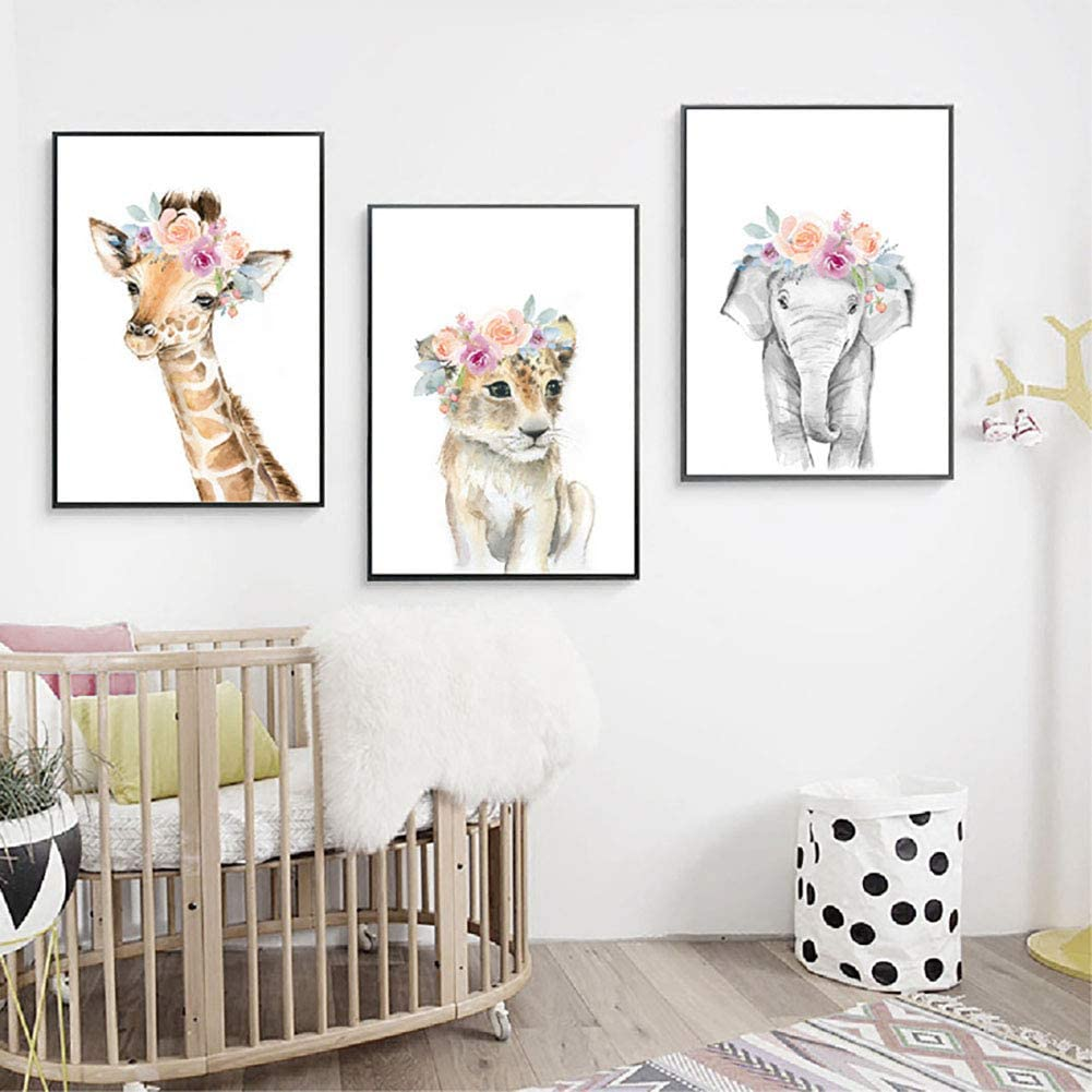 A Baby Nursery Wall Decor Jungle Animals Safari Africa Wall Pictures for Boys Girls Children Woodland Nursery Posters Decor 8x10 Inch Unframed Watercolor Set of 4