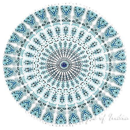 Eyes of India - Redondo Blanco Inserción Relleno Rellenador Relleno para Cojín Cojín para Suelo 24