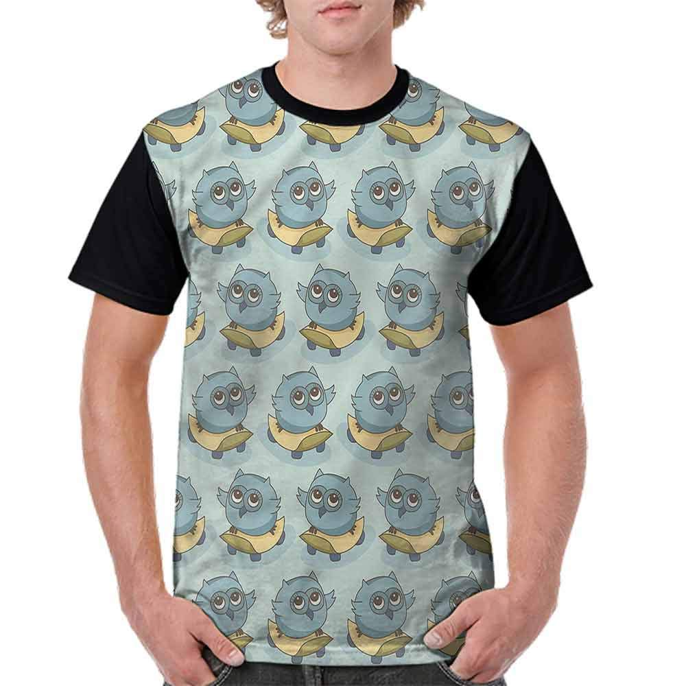 Printed T-Shirt,Adorable Birds at Tea Party Fashion Personality Customization