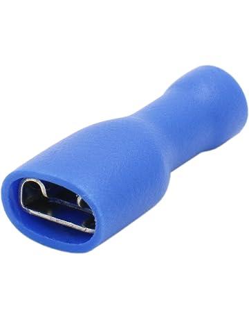 /_ 100 fiches plates Bleu 6,3x0,8mm câbles Chaussures 1,5-2,5mm²
