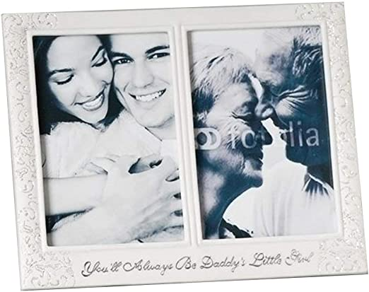 DISTRESSED LOOK WHITE DOUBLE PHOTO FRAME W// DOVES