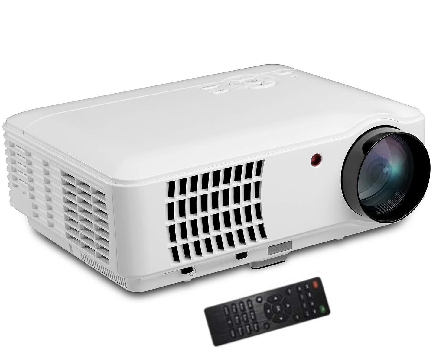 HDプロジェクター5.8インチLEDプロジェクターポータブルホーム2500ルーメンサポート1080P互換MOV VAI VC1 FLV RMVB MPEG MJPEGおよび他のフォーマット B07P9PVB9F