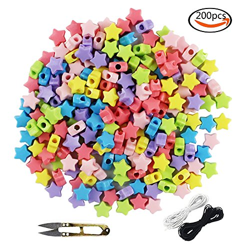 Colorful Acrylic Beads - WXBOOM 200pcs 12x7mm Assorted Colorful Acrylic Beads Kids DIY Star Beads with Big Holes, with 1 Pair of Scissors, 1 Black and 1 White Cord
