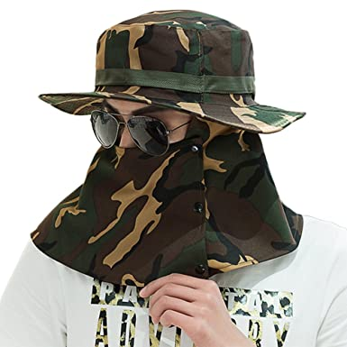 e781dd5847861 WeiMay Men Summer UV Sun Hat Protective Full Coverage Camouflage Hat Visor  Fishing Cap with Removable