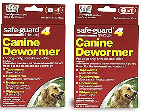 8 in 1 Safe Guard Canine Dewormer for Large Dogs, 4-Gram- 2 Pack ( 2 Pouches per ()