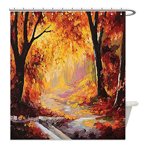 [Liguo88 Custom Waterproof Bathroom Shower Curtain Polyester Country Decor Elegant Paint of a Forest with Autumn Color Leaves Fall Time Sadness Season Theme Art Decor Orange Brown Decorative bathroo] (Sadness Costume Ideas)