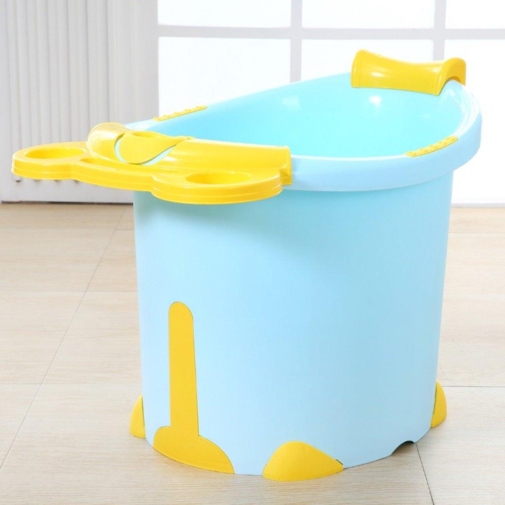 Sunhai& Bath Tubs Large Children's Bath Tub Plastic Baby Bath Tub Children Can Sit In The Bath Tub ( Color : Blue And Yellow Models )