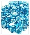 "MagicWater Supply Light Blue Flat Marble Glass Gems - 1 LB (pound) - Flat Marble Vase Fillers, Table Scatter, Aquarium Décor, Pebbles - Approx. 3/4"" diameter (1 bag)"