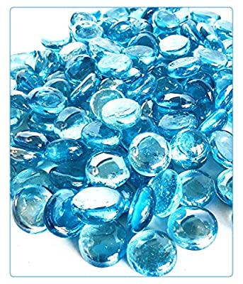 """MagicWater Supply Light Blue Flat Marble Glass Gems - 1 LB (pound) - Flat Marble Vase Fillers, Table Scatter, Aquarium Décor, Pebbles - Approx. 3/4"""" diameter (1 bag)"""