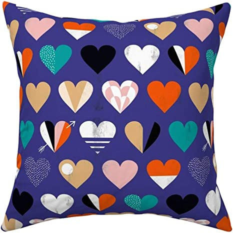 Amazon Com Roostery Throw Pillow Mod Love Heart Valentine Be Mine Bold Graphic Colour Block Print Linen Cotton Canvas Knife Edge Accent Pillow 18in X 18in With Insert Home Kitchen