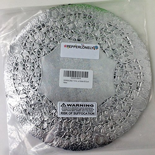 PEPPERLONELY 10 Inch Silver Round Lancaster Paper Doilies 50 Count by PEPPERLONELY (Image #2)