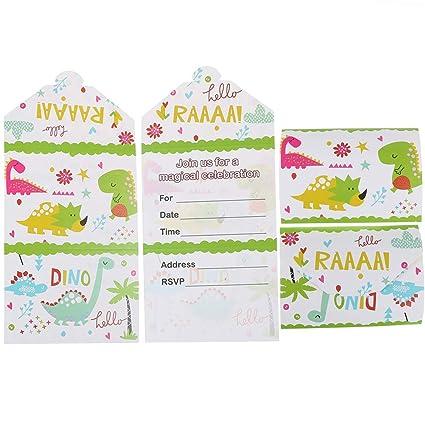 Amazon.com: SUSHAFEN 12 tarjetas de invitación de dinosaurio ...