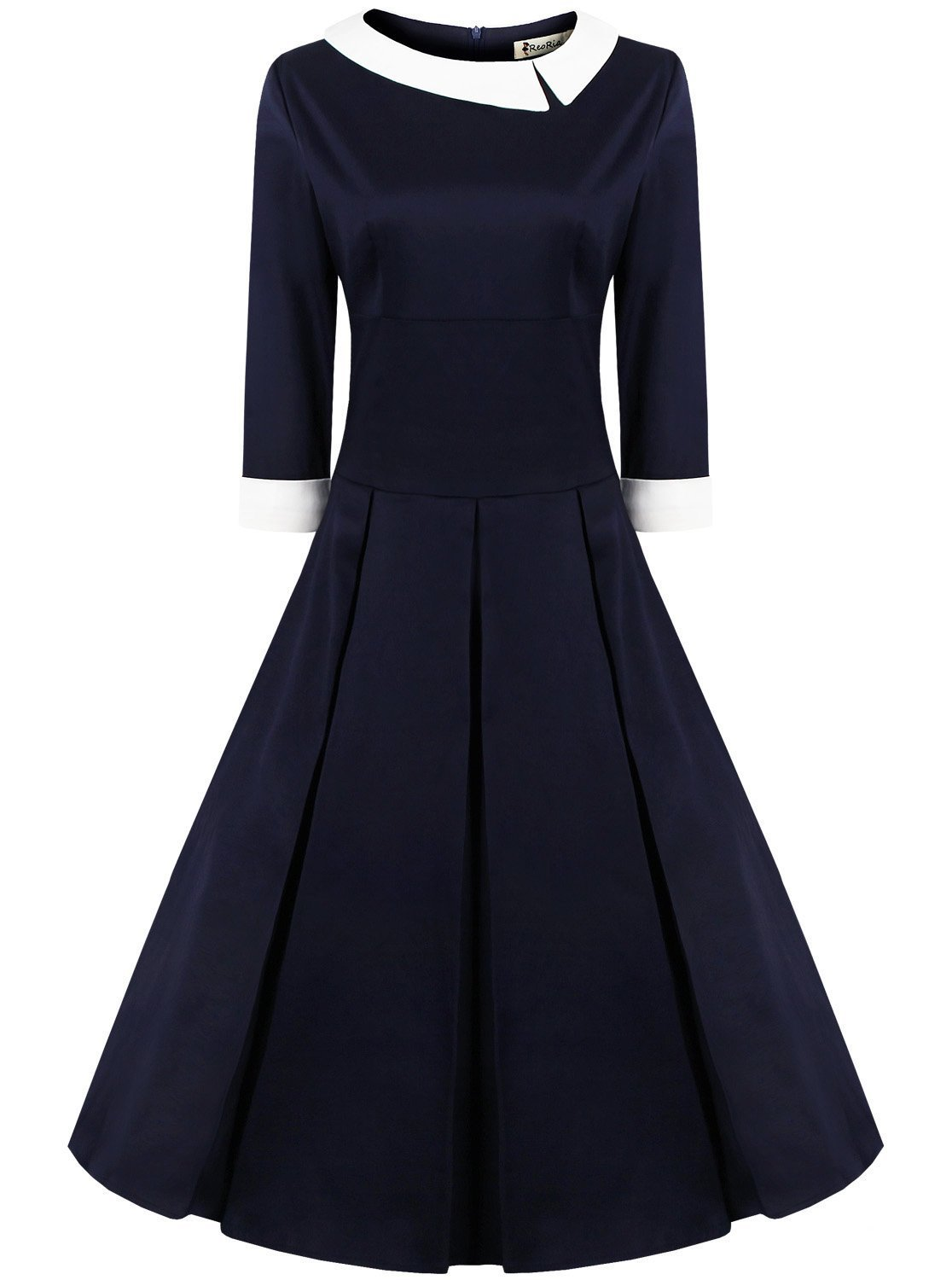 Women's 50s 60s Style Rockabilly Pinup 3/4 Sleeve Wear to Work Elegant Swing Vintage Dress Navy Blue X-Large