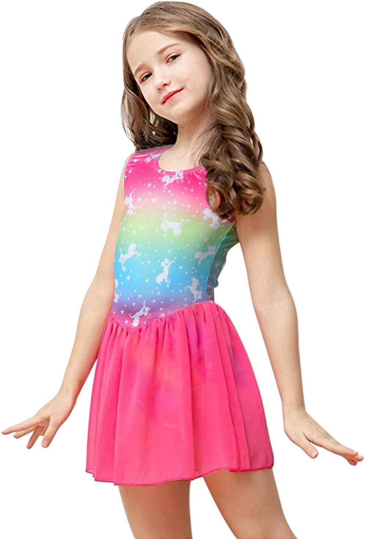 Kidsparadisy Girls Dance Leotard with Skirt Dress Tulle Sleeveless Rainbow Ballet Unitards Dance Costumes