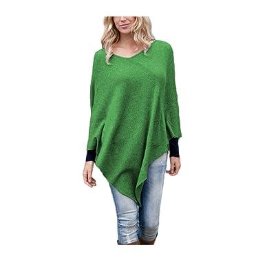 Parisbonbon Women's 100% Cashmere Pullover style Poncho Color Apple Green  Size 5XS