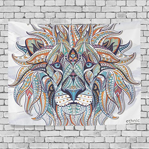Ethnic Lion Wall Tapestry Hanging Lion Wall Decor for Living Room