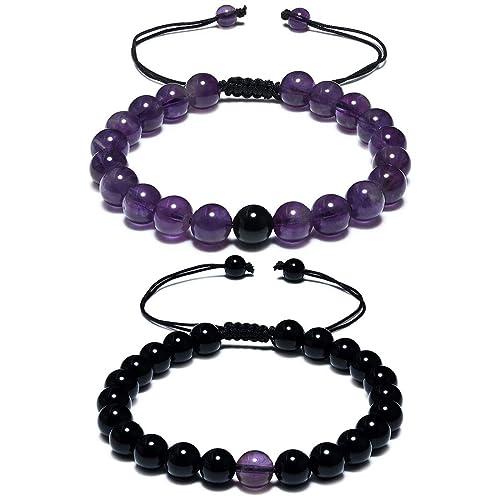 fde0d4e517aaf CAT EYE JEWELS Long Distance Matching Couple Friendship Bracelets 8mm  Natural Stone Healing Beads