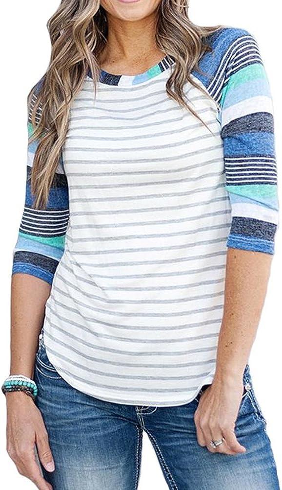 KufvWomens Prints Florals 3//4 Sleeve Crew Neck Top Tshirt