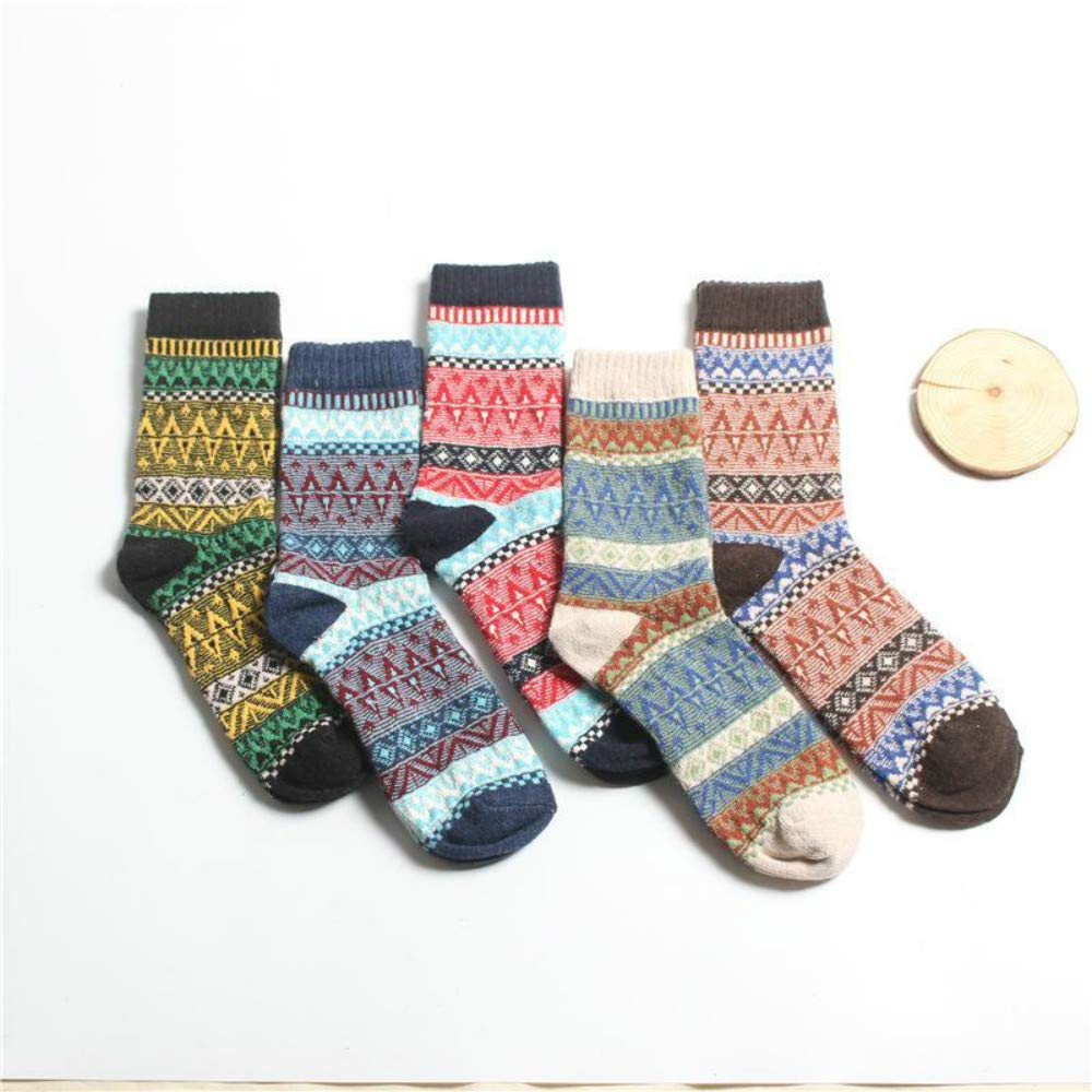 5 Pairs Womens Multicolor Fashion Warm Wool Cotton Thick Winter Crew Socks
