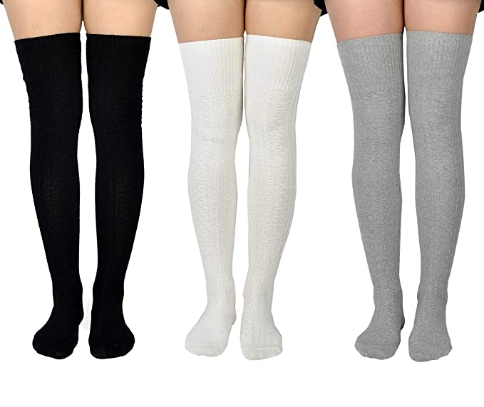 d44f0a08246 Jormatt 3 Pairs Women Thigh High Socks Knit Over Knee High Stockings Girls  Tall Long Boot