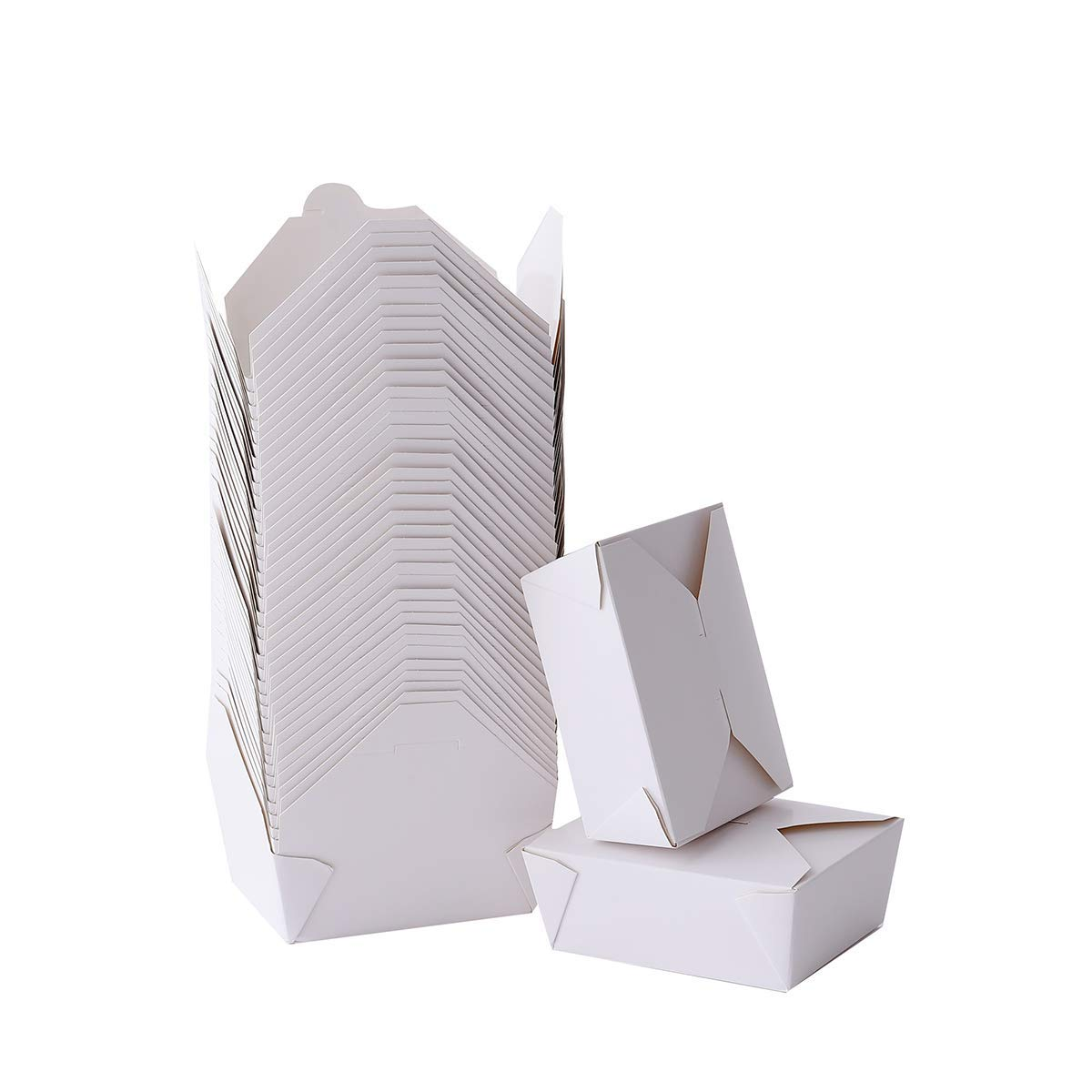 Take Out Boxes 45 Oz White Chinese Take Out Containers 40 Pack Microwaveable Folding Natural Food Box Meal Prep Containers for Food Ideal Leak and Grease Resistant for Restaurants, Weddings