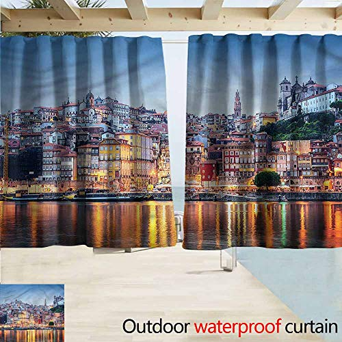 (Thermal Insulated Blackout Curtains European Cityscape River in Porto Room Darkening, Noise Reducing W63x72L Inches)
