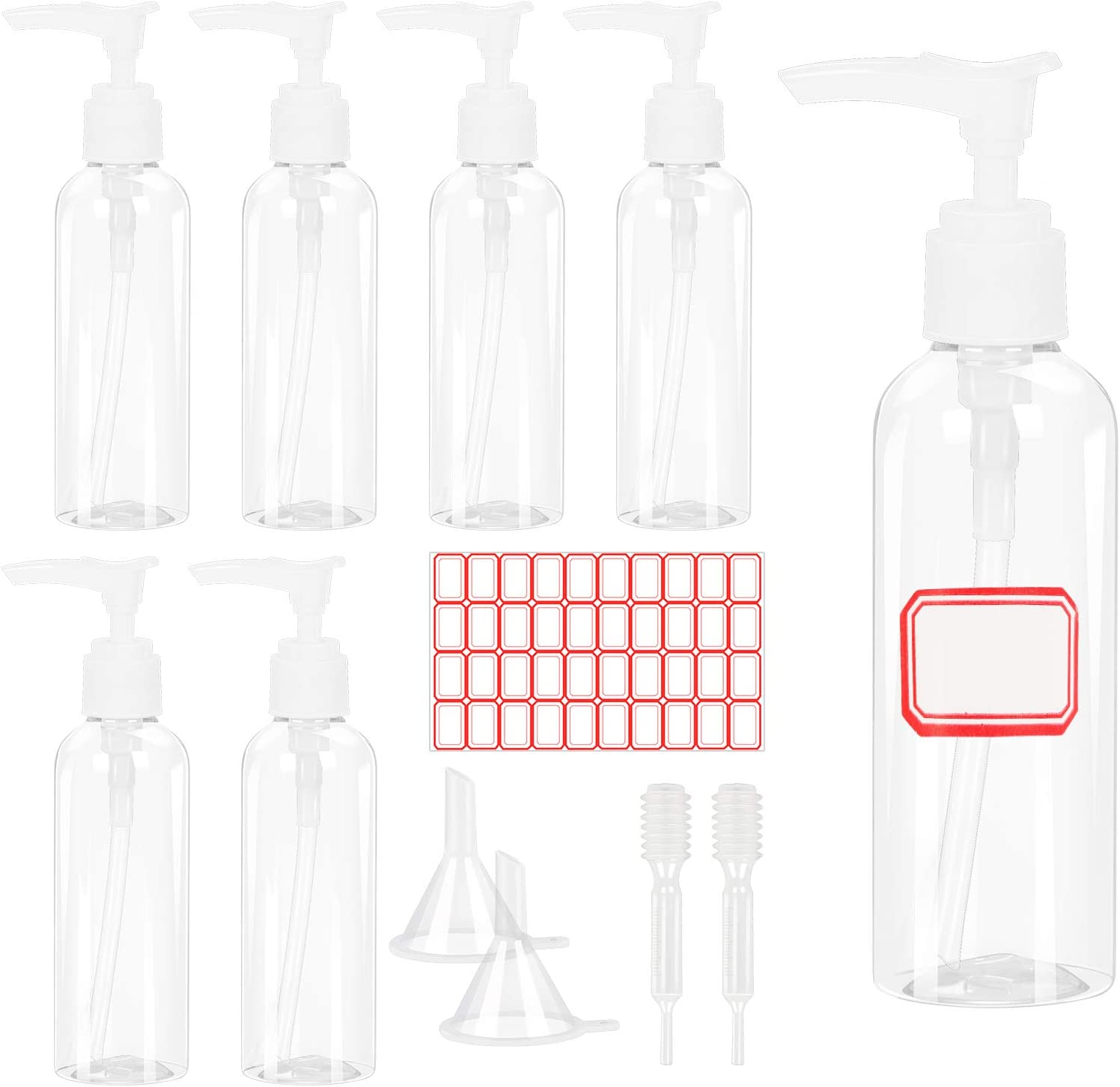 Botes Plastico Viaje, LANMOK 7pcs Botella de Bomba de Loción 100ml Botella de Spray Portátil Envase de Loción Contenedor Líquidos Avion Envases Vacios para Cosmetica